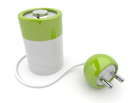 pila: cargador de bater�a con el enchufe. 3D aislado