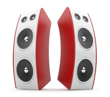 Red audio speaker. Acoustic system 3D. Isolated on white background photo