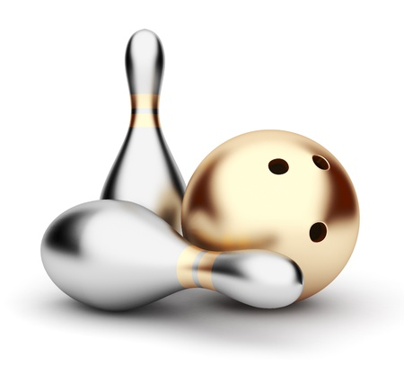 steel balls: Bowling. 3D illustration on white