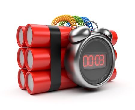 bomba a orologeria: Bomb con il 3D orologio timer. Countdown. Isolato su bianco Archivio Fotografico