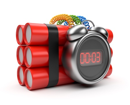 detonate: Bomb with clock timer 3D. Countdown. Isolated on white Stock Photo