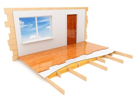 room door: Construction of the house. Isolated 3d illustration