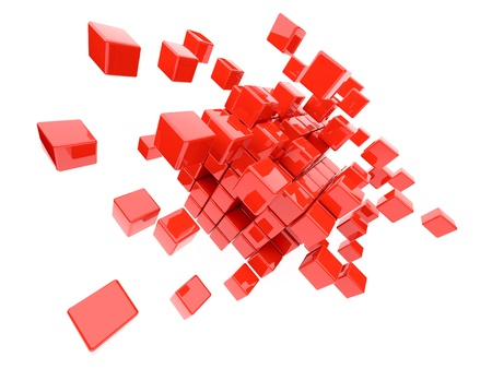 disorganization: Red cubes 3D. Isolated on white background