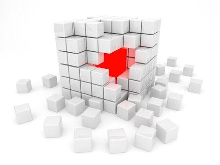 disorganization: White cube 3D. Kernel. Isolated on white background Stock Photo