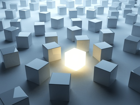 different idea: Luminous cube. Symbol of individualism Stock Photo