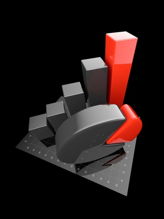 Business chart 3d. graph Isolated  photo