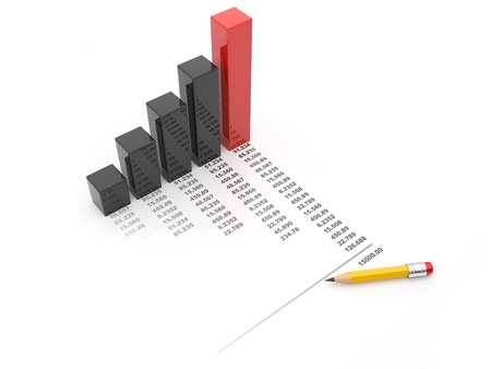 impost: Business chart 3d. diagram isolated Stock Photo