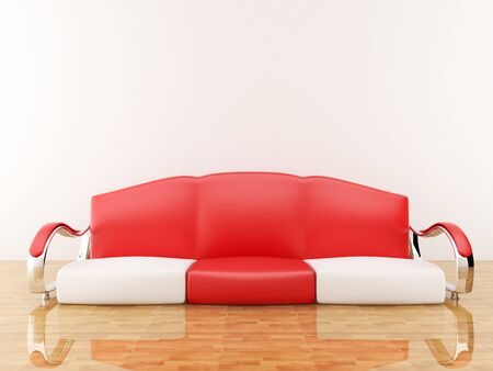 sofa furniture: Red sofa in an empty room. interior Stock Photo