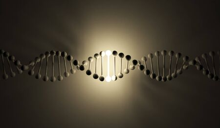 Luminous DNA. 3d illustration, on dark black background illustration