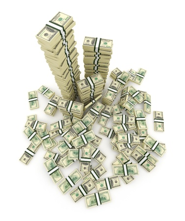 heap of dollar: Big pile of the money. Green  dollars USA 3D concept. Isolated on white background  Stock Photo