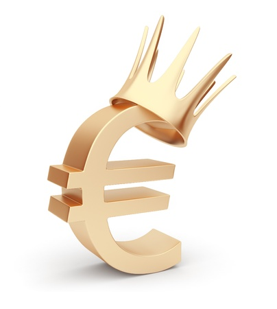 corona: Golden euro currency 3D. symbol. Isolated  Stock Photo