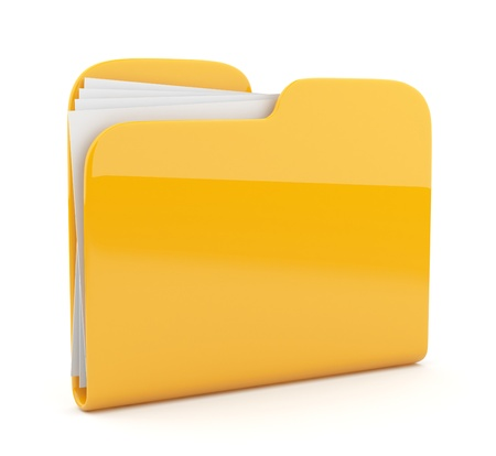 docs: Yellow folder. File 3D.  Icon isolated on white background