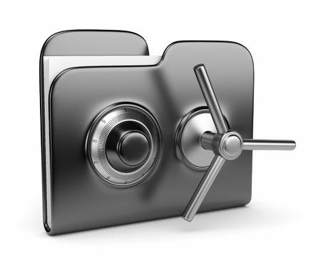 Concetto di sicurezza dei dati. Cartella di nero e serratura. 3D isolato su bianco