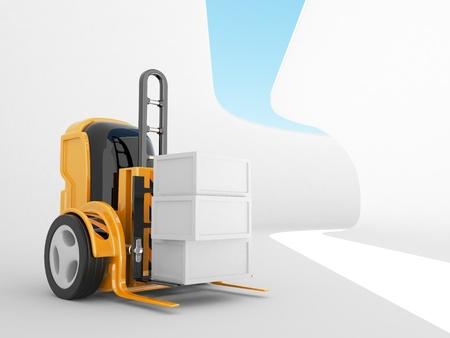 Industrial forklift with a load of. futuristic robot. 3d illustration  illustration