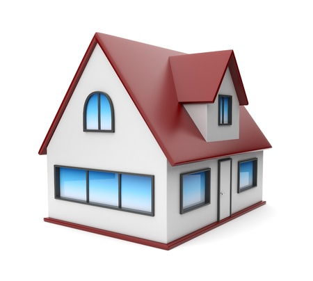 Small house. Icon 3D. Isolated on white background photo