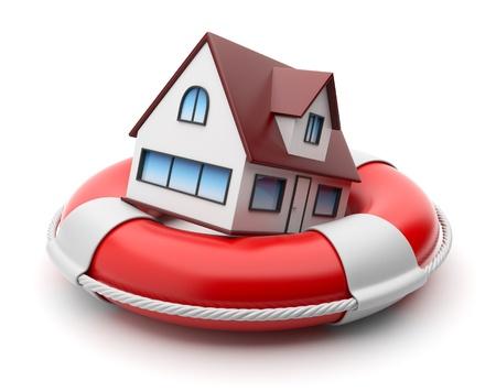 ubezpieczenia: Dom w lifebuoy. WÅ'asność koncepcji ubezpieczeniowej. Pojedynczo na biaÅ'ym tle Zdjęcie Seryjne