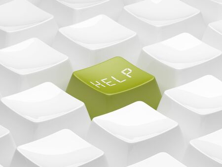 Green 3d key for help.  support photo