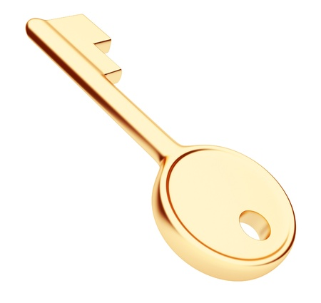 Gold key 3d. Isolated on white photo