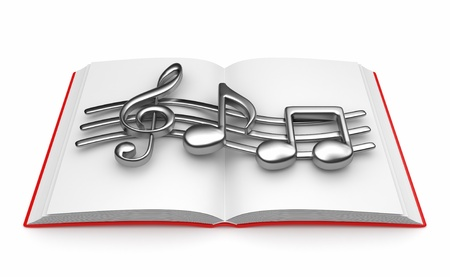 Musical note on opened book 3D. Isolated on white background photo