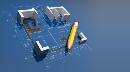 construct: Plan of construction. On blue background Stock Photo