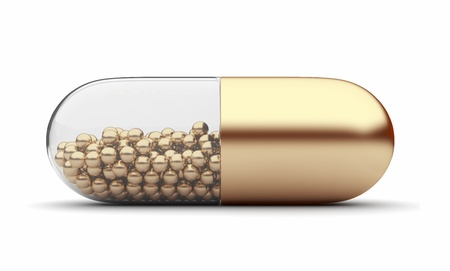 Oro 3D pillola medica. Vitamine. Isolato su sfondo bianco