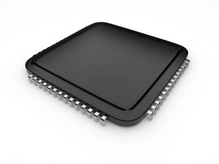 Computer microchip CPU. Icona 3D. isolato su sfondo bianco Archivio Fotografico