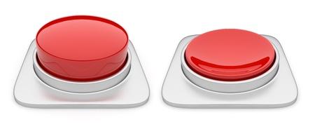 pushing the button: Bot�n rojo aislado en fondo blanco Foto de archivo