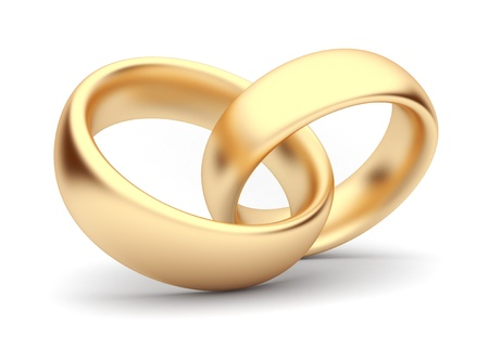 Wedding gold rings 3d. Isolated photo