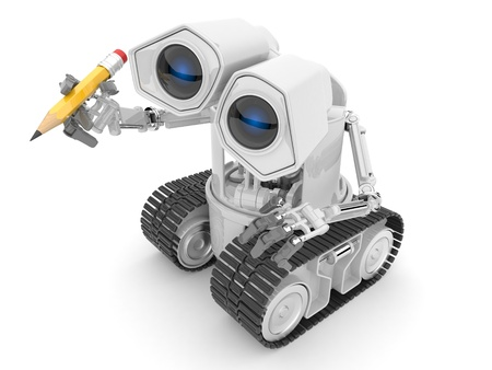 Robot hold a pencil in a hand. 3d person. Isolated Stock Photo - 13078095