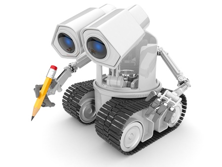 Robot hold a pencil in a hand. 3d person. isolated photo