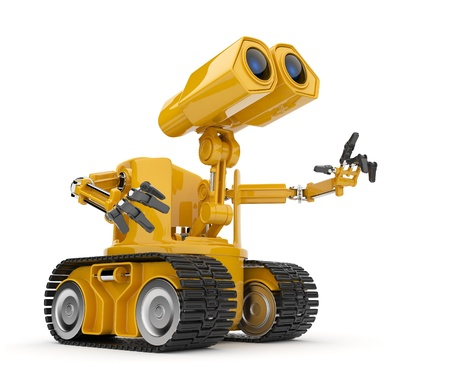 robot: Futurystyczne Dyskusja robot. Sztuczne pojęcie inteligencji. 3D na białym tle. Zdjęcie Seryjne