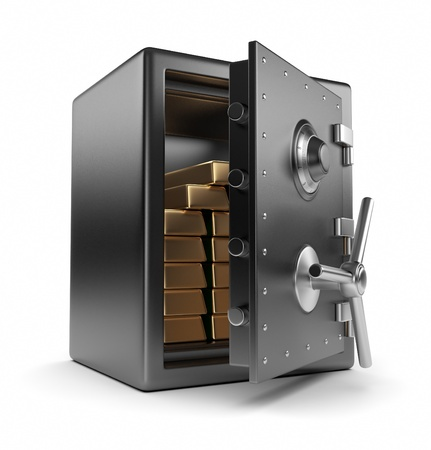 Steel safe box and gold 3D. Protection concept. Isolated on white background photo