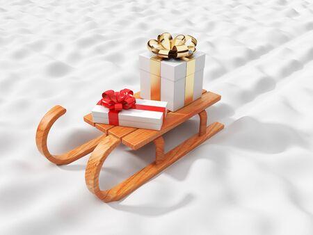 Gift on wooden sled, going on snow.  Christmas concept. 3D illustration  illustration
