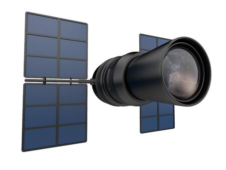 sattelite: Space telescope 3D. Research of distant galaxies. Stock Photo