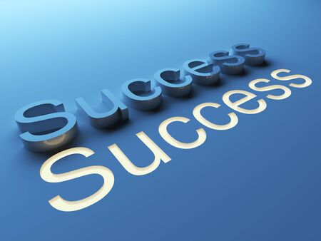 Success. 3D text on blue background.