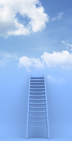 Ladder to sky. Success.  illustration on blue background illustration
