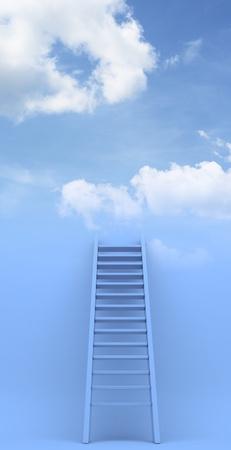 ascend: Ladder to sky. Success.  illustration on blue background