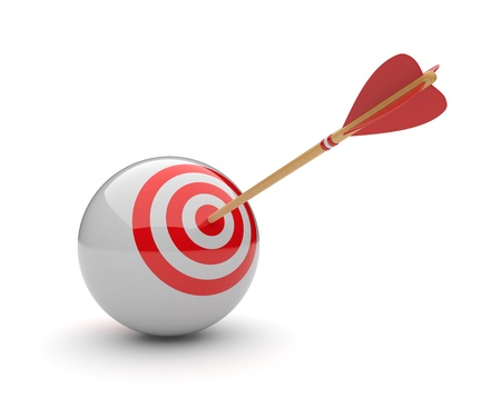 high performance: Arrow in sphere target 3D. Success hitting. Business concept. Isolated on white Stock Photo