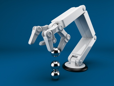 dexterity: Robotic hand holding sphere 3d. Artificial intelligence. On blue  Stock Photo