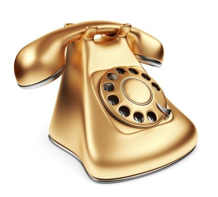tele communication: Vintage gold phone. 3d illustration isolated