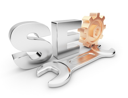 SEO optimization. Business in internet.  3D Isolated  photo