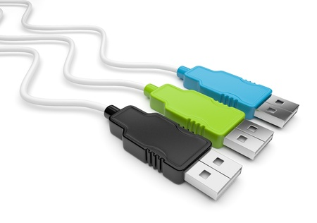 USB cable 3d. Isolated on white  photo