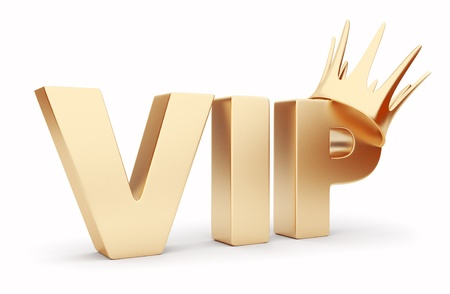 vip: VIP 3D text  with crown. Isolated Stock Photo