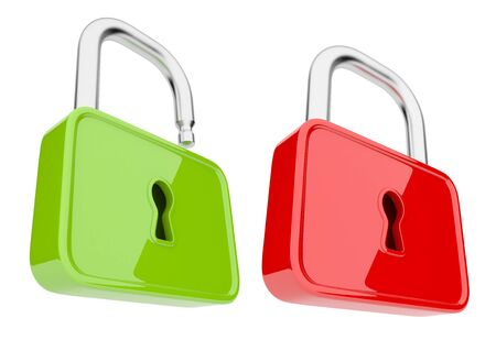 Opened and unlock  lock 3D. Isolated Stock Photo - 13078151