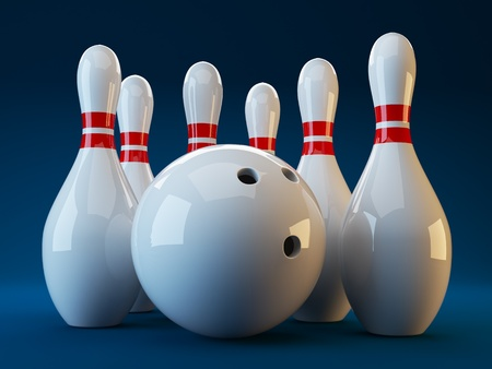 bowling: Bowling. 3D illustration on dark blue  background. game Stock Photo