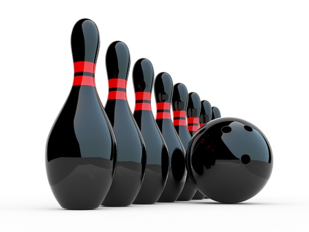 on strike: Bowling. 3D illustration on white background. Game