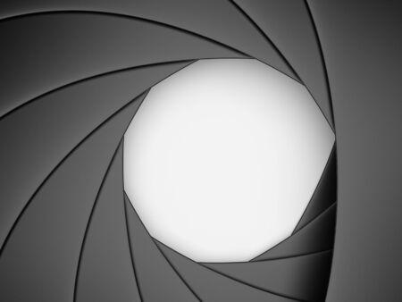 Camera shutter aperture. 3D  photo