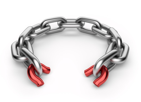 Breaking chain  Weak link concept  3D illustration isolated on white