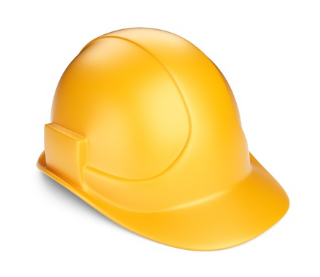 safety hat: Yellow hardhat 3D  Construction tool  Icon isolated on white background
