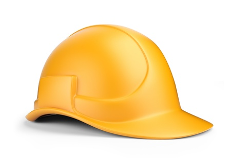 hardhat icon: Yellow hardhat 3D  Construction tool  Icon isolated on white background